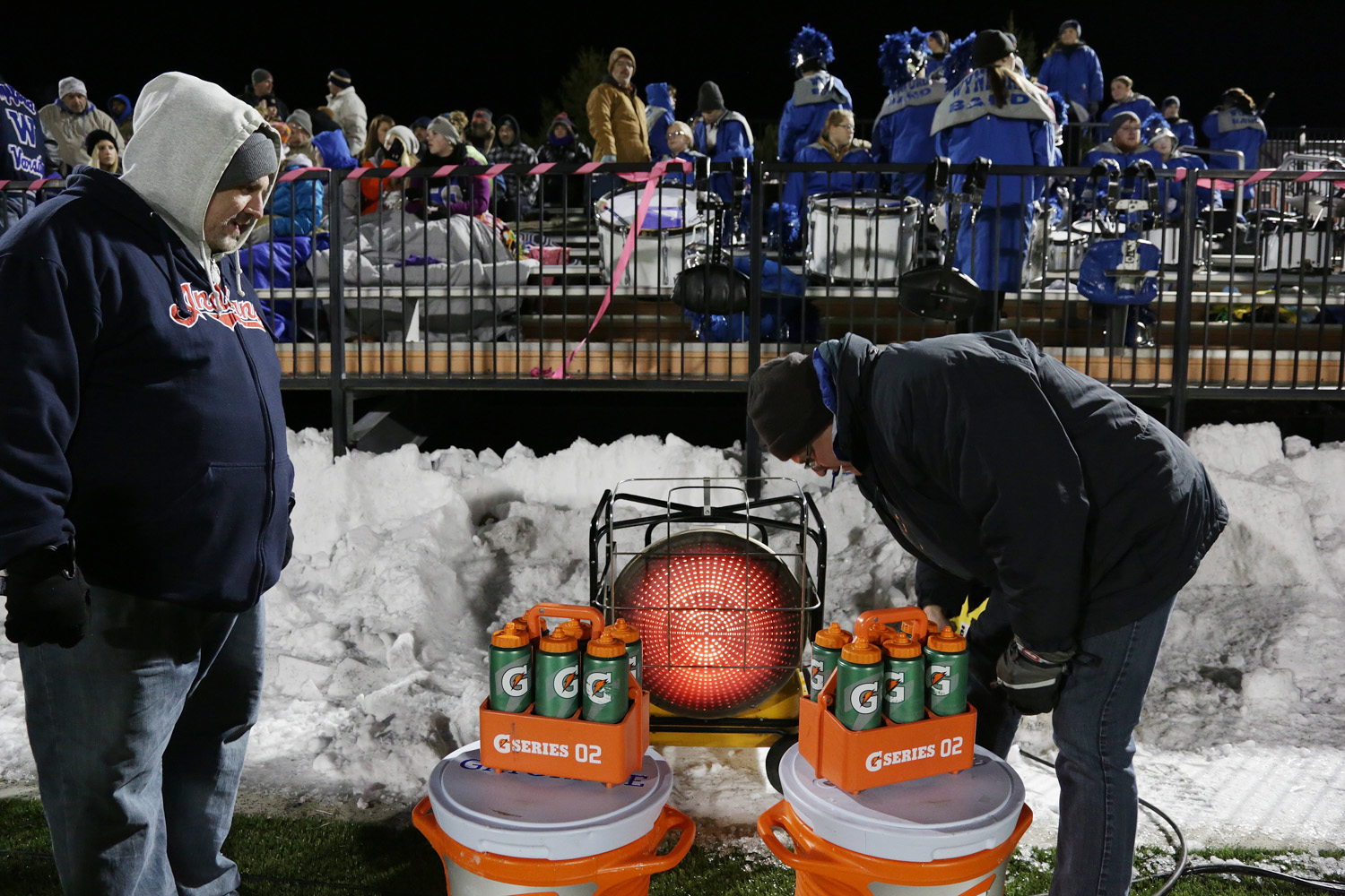 Sports feature, it was so cold the water bottles froze, so trying to unfreeze them before the game