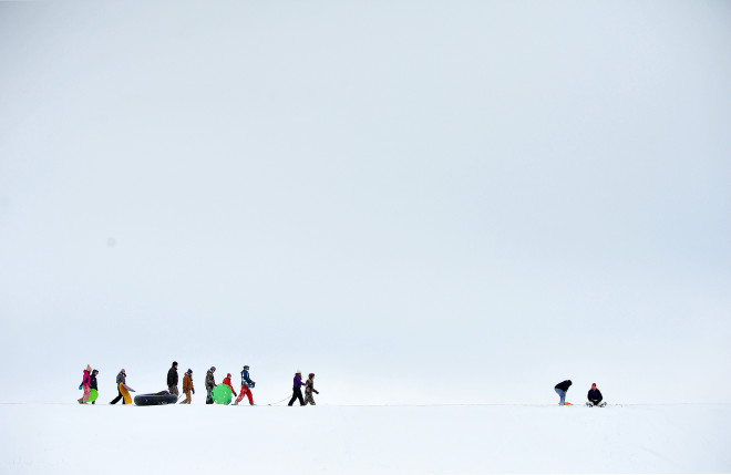 Sledders enjoy a snow day at Outhwait Reservoir, Bucyrus, Ohio.